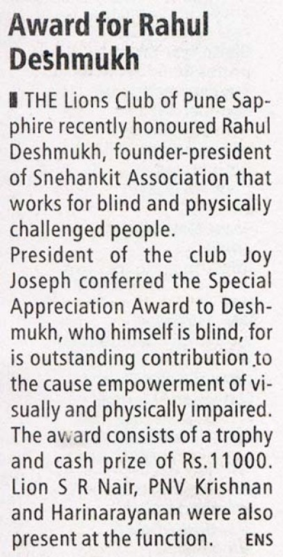 Award for Rahul Deshmukh